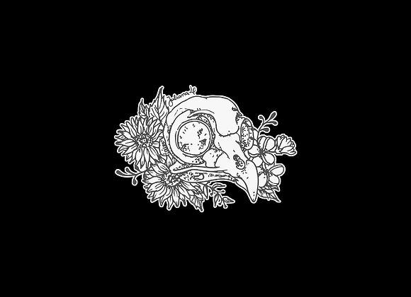 Adesivo ilustração crânio de coruja