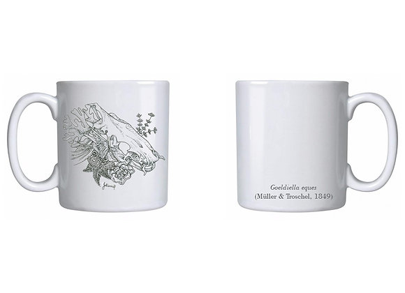 Caneca com ilustração de peixe (porcelana)