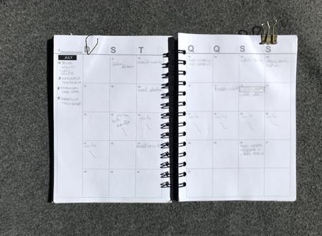 Planejamento mensal: julho