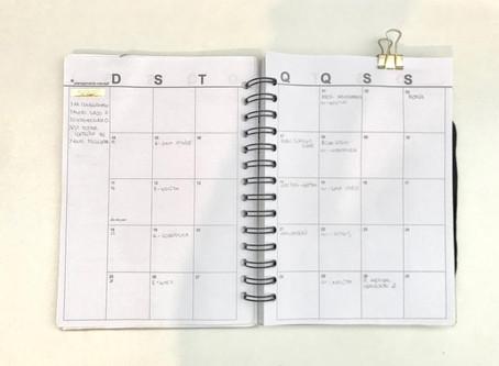 Planejamento mensal: agosto