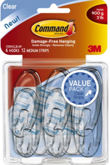 6pk Medium Clear Hooks