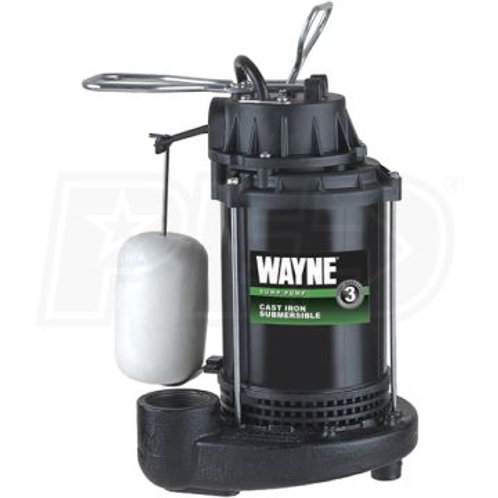 Wayne - 1/2 HP Cast Iron Submersible Sump Pump w/ Vertical Float Switch