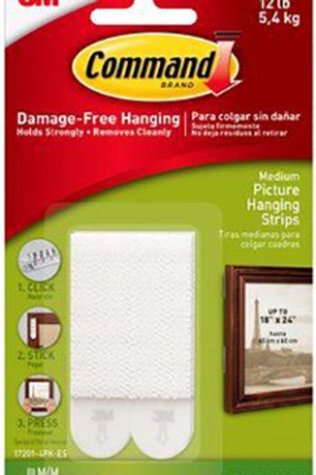 4 Pack -ES Medium Picture Hanging Command Strips