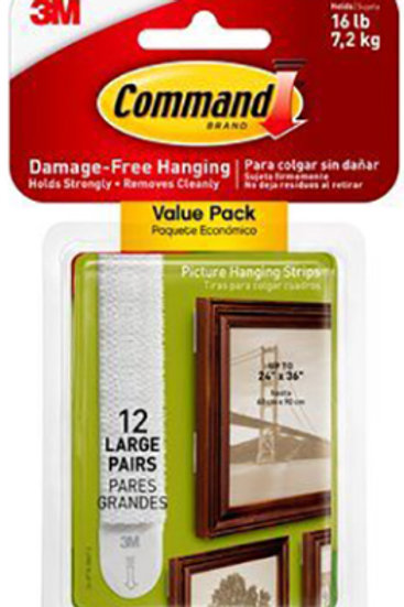 12 Large pairs Picture Hanging Command Strips