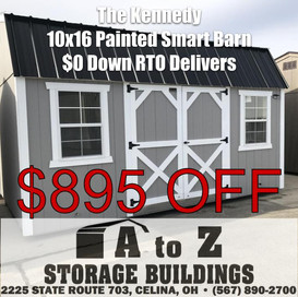 """""""The Kennedy"""" 10x16 Painted Smart Barn Sale Price $6285.01 (Valid until Aug. 2)"""