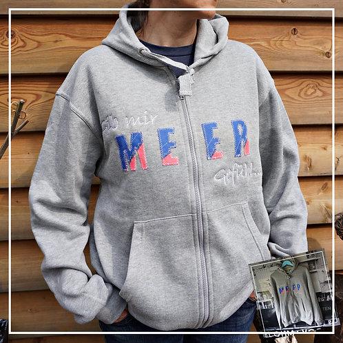 "Zip-Kapuzenpullover ""Gib mir MEER Gefühl"" Größe M"