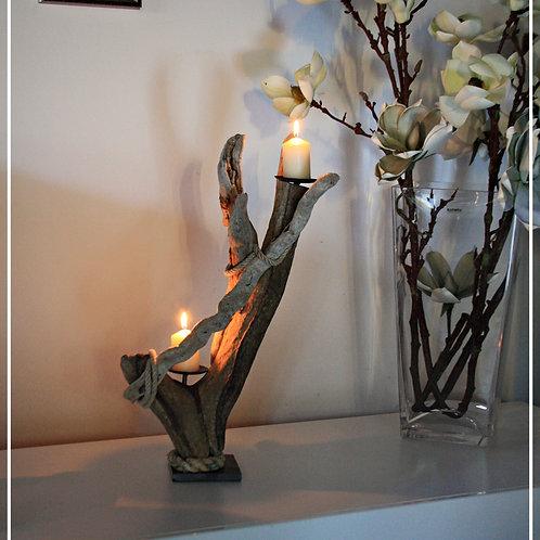 Treibholz Kerzenleuchter 2 flammig
