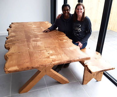 14 seat Pippy Oak Dining Table and Bench