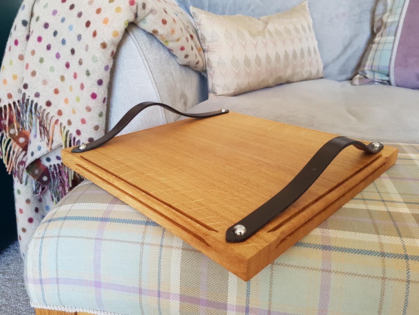 Oak Tray on Upholstered Bench