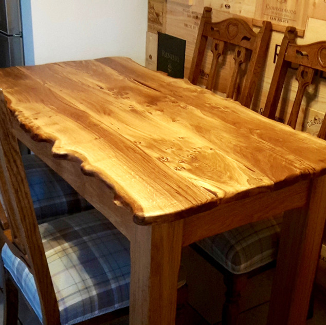 Waney Edged Pippy Oak Dining Table