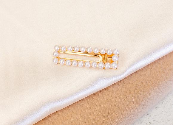 Open Rectangle Pearl Hair Clip