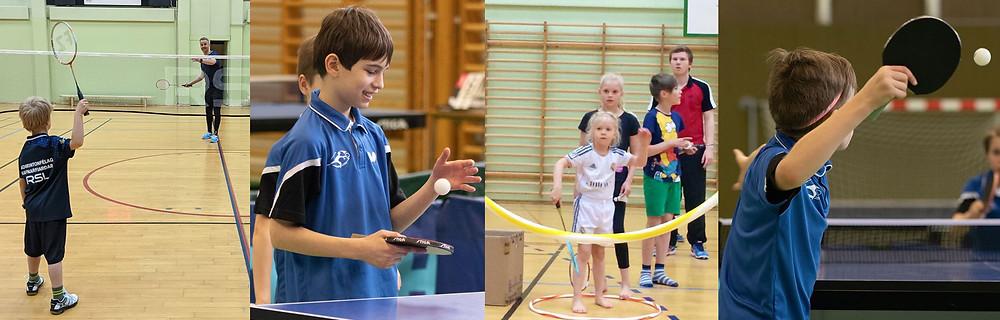 Badminton og borðtenniskrakkar að leik