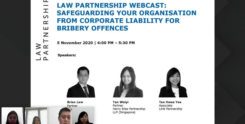 LAW PARTNERSHIP WEBCAST Safeguarding Your Organisation From Corporate Liability for Bribery Offences