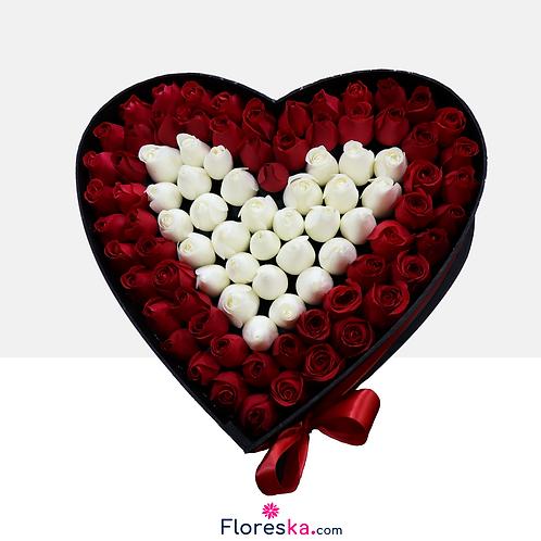 Corazón Grande con 87 Rosas