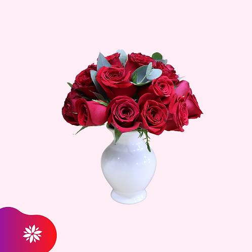 Jarrón de Cerámica con 24 Rosas