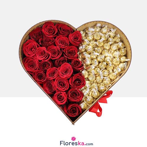 Corazón Grande de Rosas +Hershey's