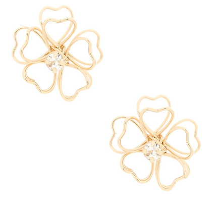 Aros dorados de flores con aplique brillante