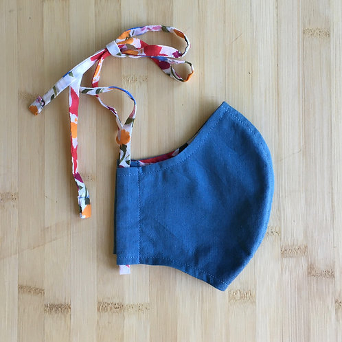 2-Layer Organic Cotton Face Mask, Blue