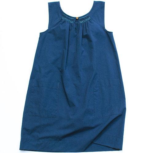 Smocked Dress – Navy Organic Cotton