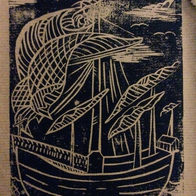 Ship Linocut