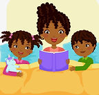 black-family-reading-story-vector-126334