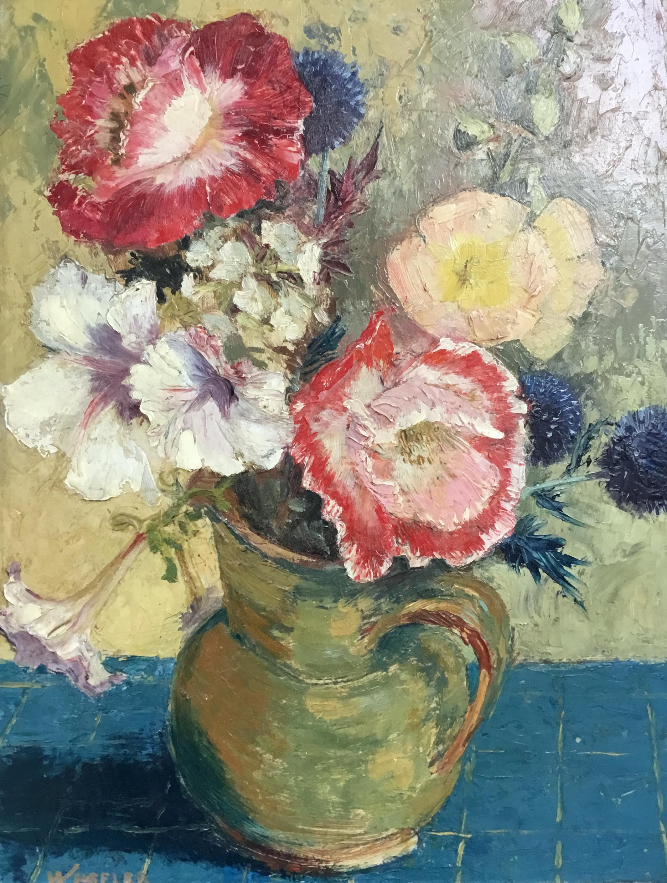 IMPRESSIONIST OIL ON BOARD, FLOWERS