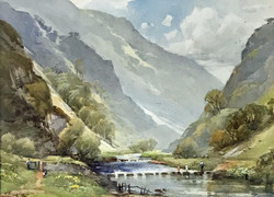 HAROLD GRESLEY (1892-1967) SIGNED WATERCOLOUR, DOVEDALE