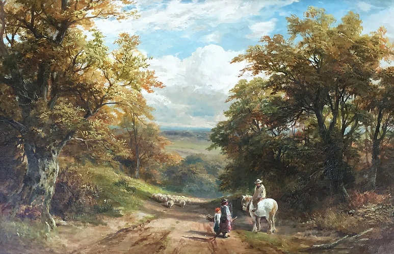 A very large fine 19th century landscape oil on canvas depicting a shepherd and a small flock of sheep resting on a summer afternoon near the village of 'Froggatt, Derbyshire' by the eminent Victorian painter George Turner (1843-1910). The painting is signed by the artist. It is sold in a superb quality gold leaf frame.