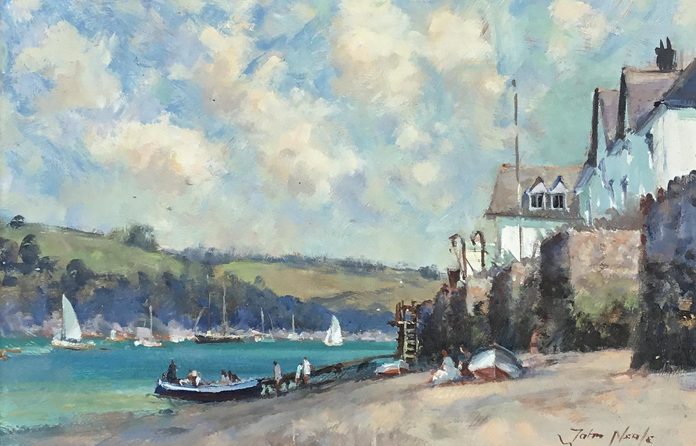 Gorgeous oil painting by John Neale - depicting a view across Portlemouth. To the RHS, is a beach area with a number of people sitting near a boat below a line of cottages, and a number of people just about to set off across the water. In the distance more boats in the bay with hills beyond. The artist is well known for the way he captures the light in his painting and this piece is no exception - the work is stunning and the brush strokes and colours incorporated into the sky are wonderful - A skilful, lovely painting
