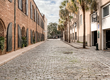 Charleston streets of brick and cobblestone. 🧱