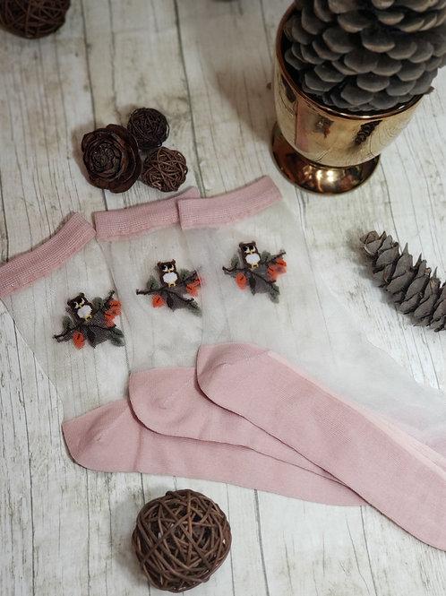 3 Pairs of Pink Owl Socks