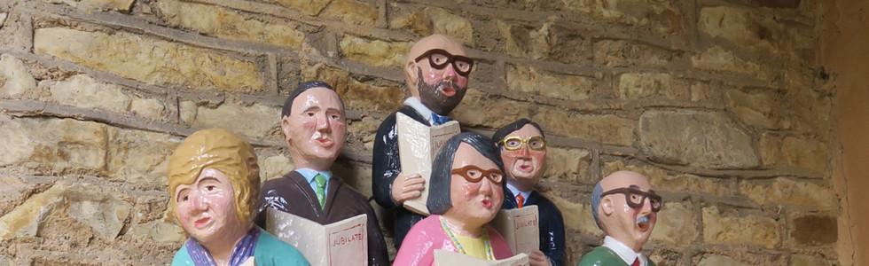 Via Beata Sculptures in the Porch