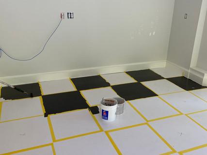 Custom garage painted floor in progress
