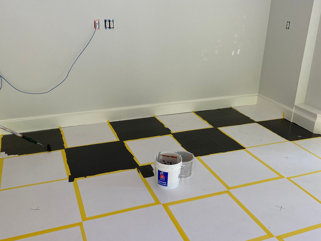 Custom garage painted floor in progress