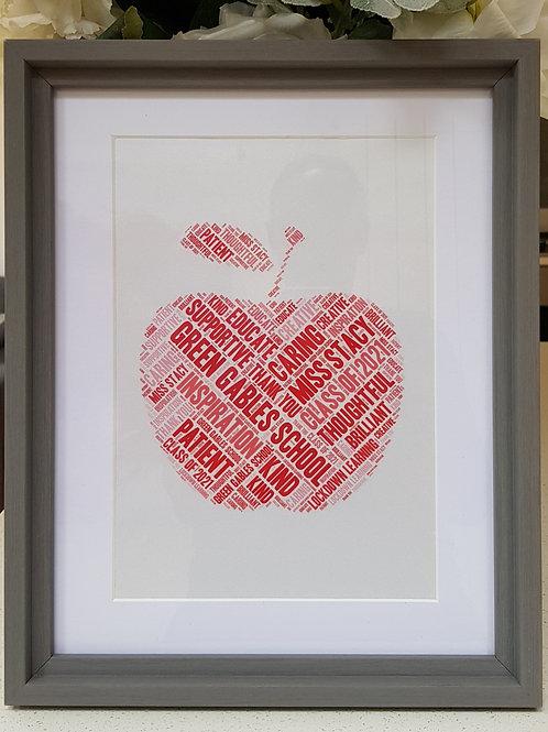 Teacher red apple word art