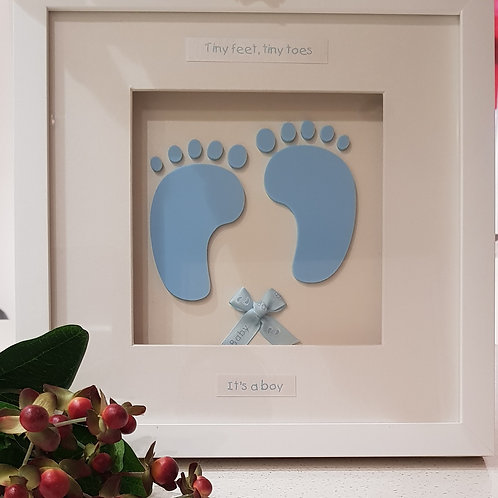 New Baby boy personalised gift, Baby's feet, Baby blue.