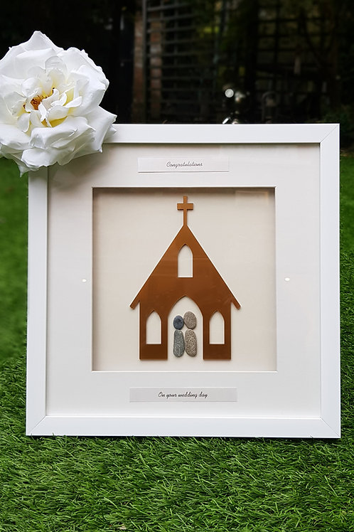 Just Married, Happy couple,personalised stone art, Church wedding.