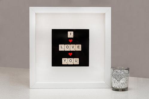 I Love you, Scrabble art, Valentines gift.