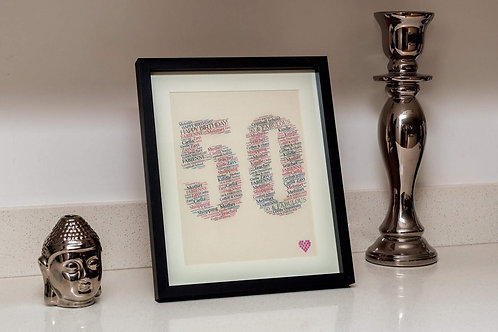 50th  birthday word art, front view