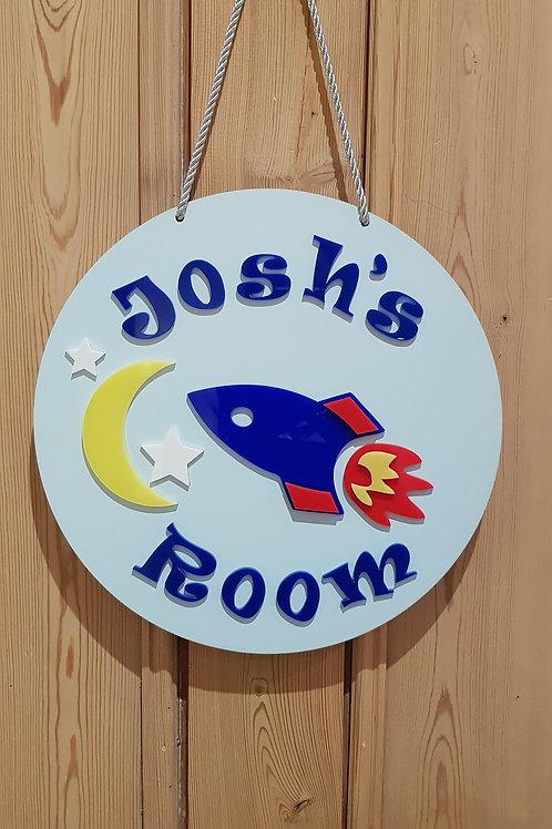 Children's Orbit personalised room hanger, Door hanger.