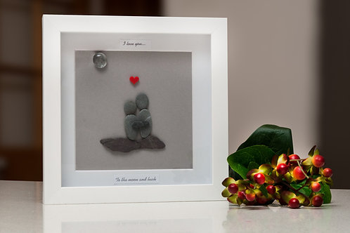 Moon and back, Personalised,  framed pebble art.