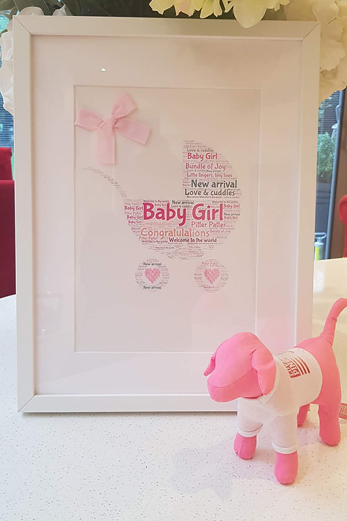 New baby girl, personalised pram word art.