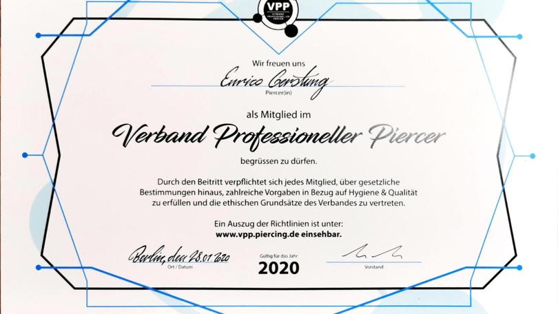 Verband Professioneller Piercer Enrico - 2020