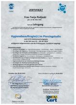 Zertifikat_Hygienebeauftragte in Piercingstudios