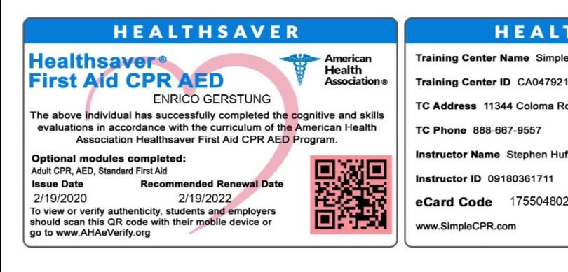 first aid & cpr 2020 - Enrico