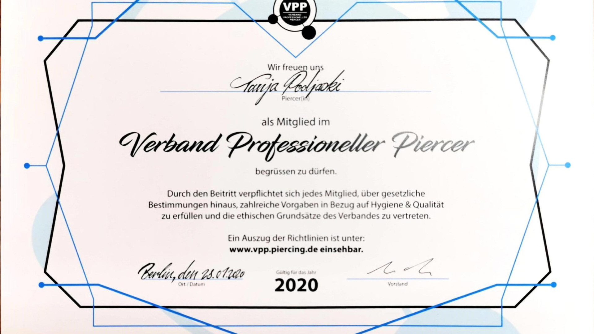 Verband Professioneller Piercer 2020 - Tanja