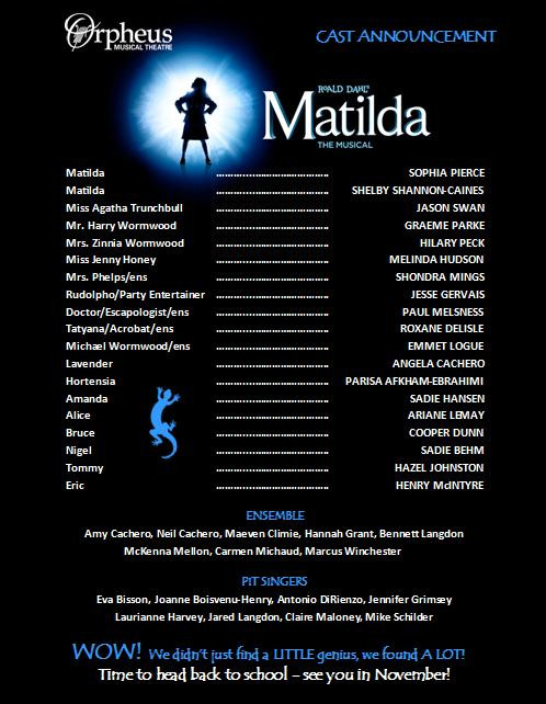 Poster listing the cast of Matilda - text reproduced in the post below.