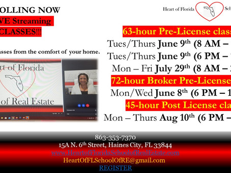 Upcoming Live Streaming Classes June/July