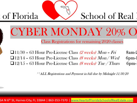 Cyber Monday 20% on 2020 Classes