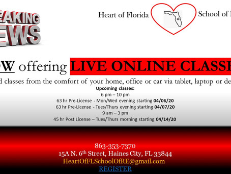 Now offering LIVE Online Classes